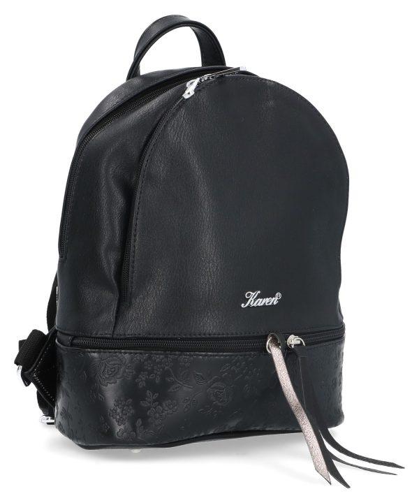 plecak karen czarny z kwiatowym wzorem