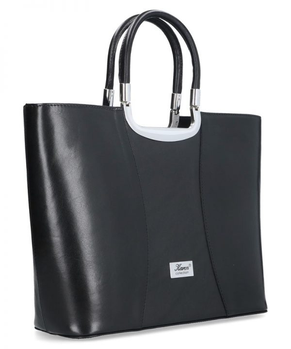 elegancka torebka karen ze skórzy naturalnej czarna
