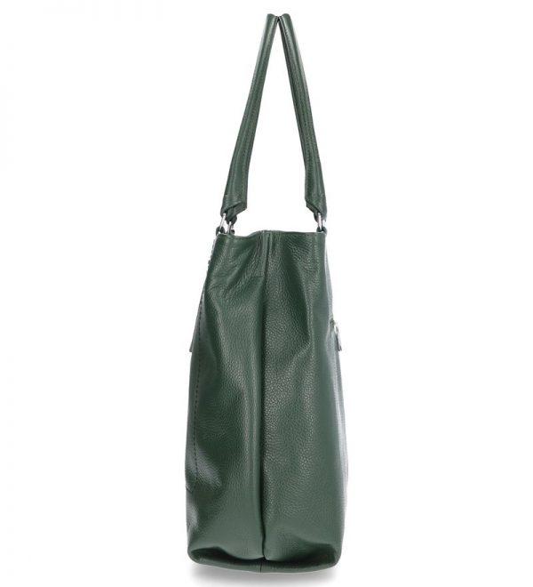 klasyczna duża torebka karen zielona skórzana