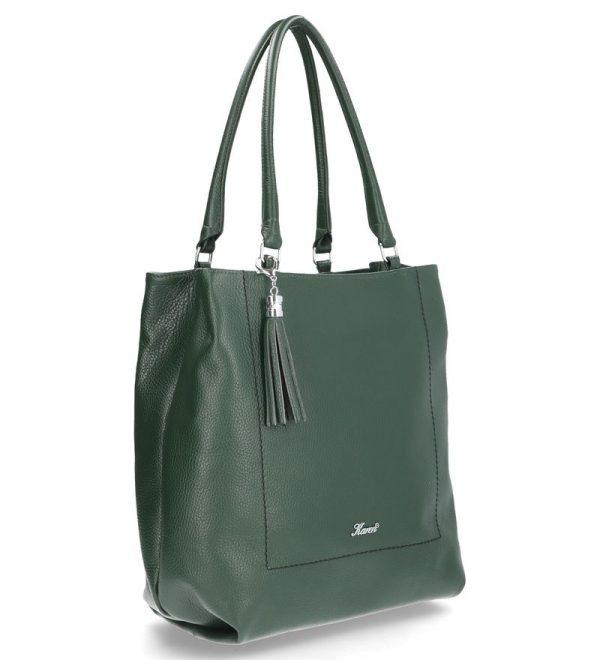 miękka torebka z troczkiem karen skóra naturalna zielona