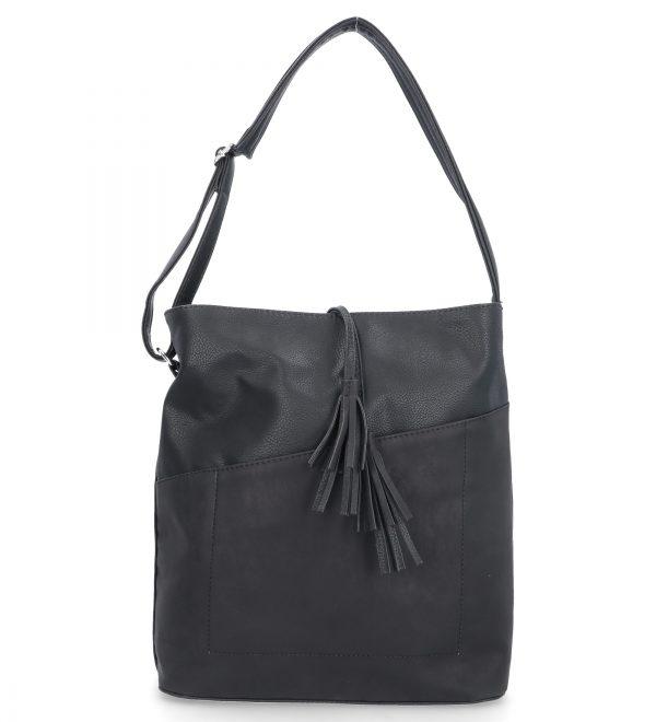 czarna torebka klasyczna karen z troczkami