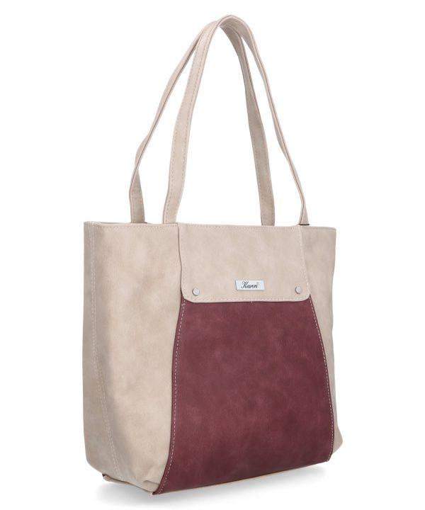 casualowa torba pojemna karen beżowo bordowa