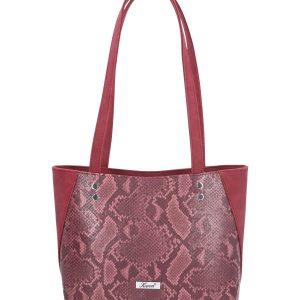 bordowa torebka z wężową skórą karen