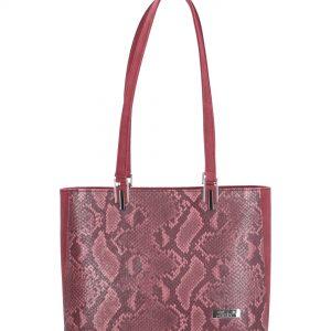 klasyczna torebka z wężowej skóry bordowa