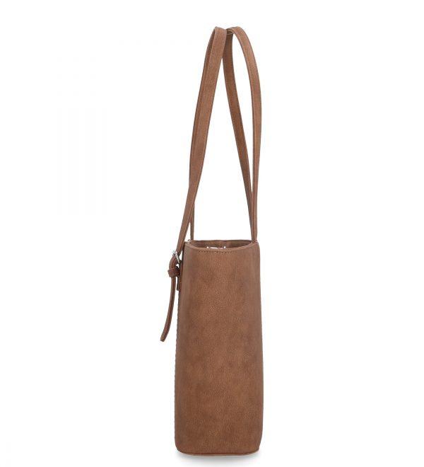 wygodny model torebki brązowy usztywniana