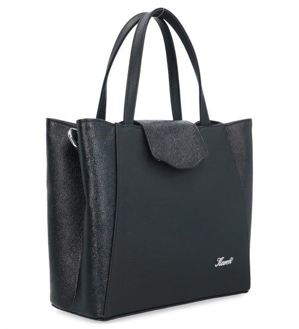 torebka z klapą na guzik karen czarna