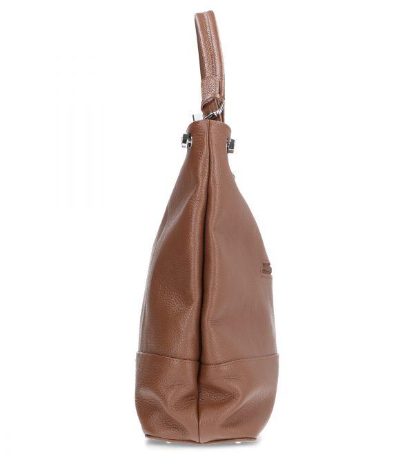 wygodna duża torebka karen skórzana brąz