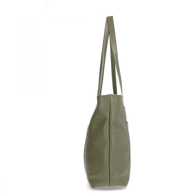 pojemna skórzana torebka damska karen zielona