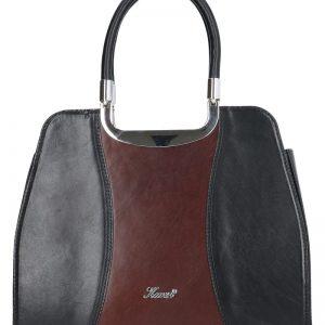 skórzana torebka czarno-brązowa karen