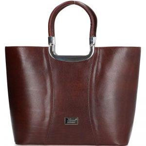 damska torebka klasyczna skórzana karen brązowa