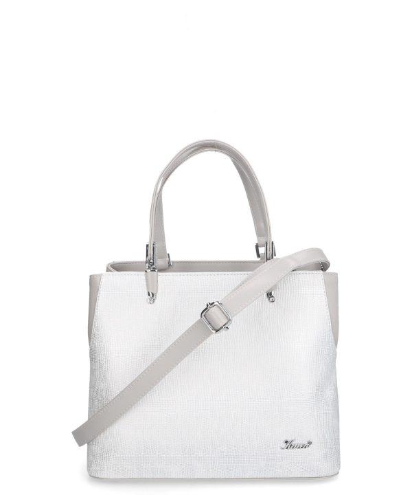 elegancka torebka damska Nina srebrna marmurkowy wzór